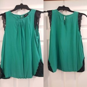 Nicole Miller Green and Black Lace Blouse